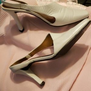 White leather retro style shoes